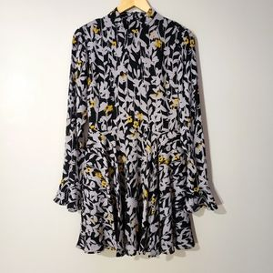 Guess NWT fit and Flare Long Ruffle Sleeve Dress